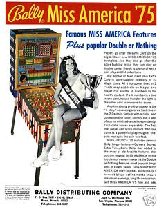 Pin ball machine miss america